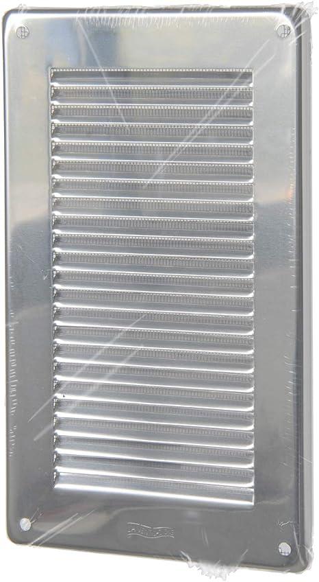 dimensiones Rejilla de ventilaci/ón inoxidable 430 rectangular para sobreponer con red antiinsectos La Ventilazione GIN30R 340 x 140 mm