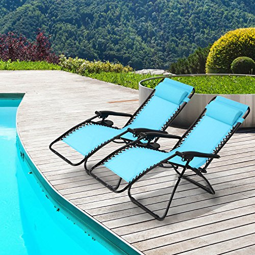 Ollieroo 2-Pack Blue Zero Gravity Lounge Chair with Pillow and Utility Tray Adjustable Folding Recliner Outdoor Patio Chair (Gravity Recliner Outdoor Chair)