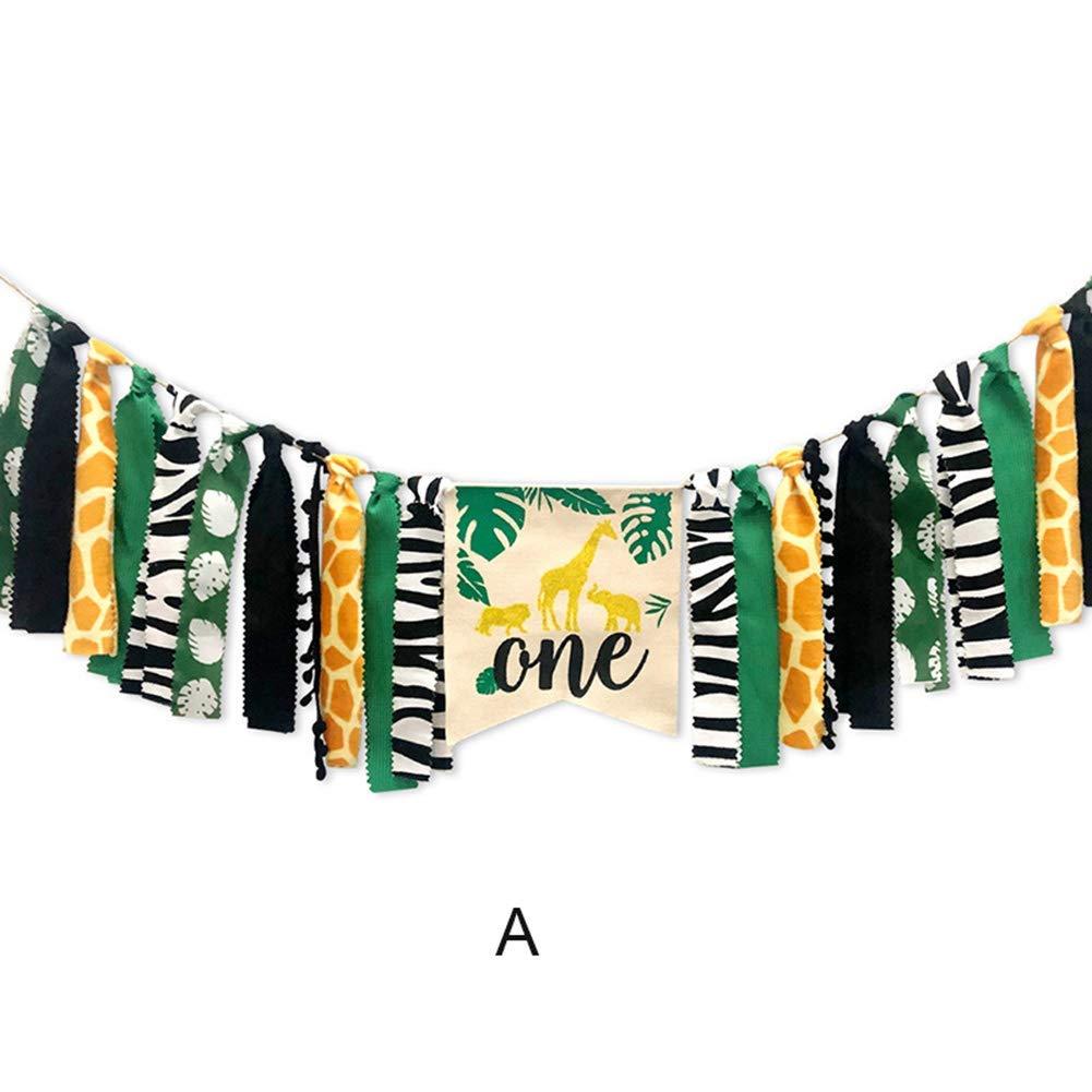 Style:D 1 Set Vert koiry Animaux de la Jungle sur Le Th/ème Chaise Haute Banni/ère D/écore Couronne F/ête Supplies pour B/éb/é 1er Anniversaire