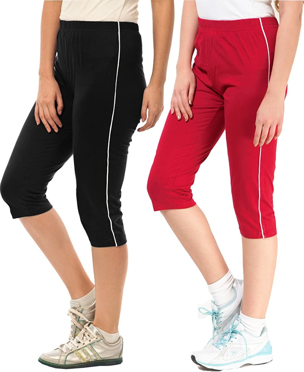 Espresso Women Casual Yoga Running Workout Capri Pants Pack of 2