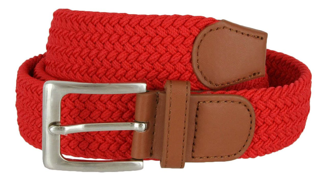 Braided Elastic Fabric Woven Stretch Belt Leather Inlay Multi-Color Options