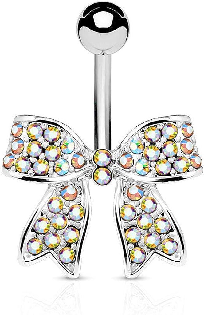 rini/_mc2 1 Pc Aurora Borealis IP CZ Paved Rubbon Surgical Steel CZ Navel Belly Button Ring