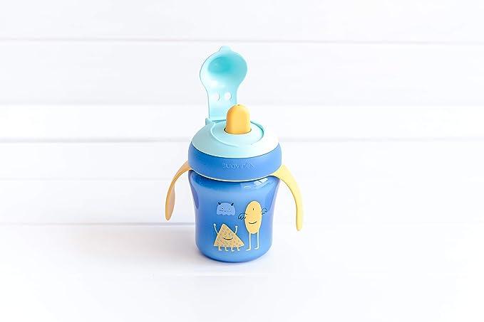 Suavinex - Vaso Aprendizaje Bebé BOOO. Con Boquilla Rígida y Asas Removibles. Para Bebés +6 Meses. Apto Para Lavavajillas. 200ml, Color Azul