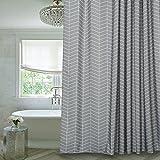 Grey Shower Curtain Grey Stripe Mildew Resistant Fabric Shower Curtain Water-Repellent,72