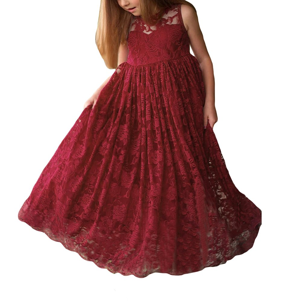 Lrud Floral Lace A-line Sleeveless Ruffles Holiday Party Flower Girl Dress Burgundy-S