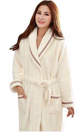 Women s Coral Velvet Robe Thick Flannel Bathrobe Longer Pajamas-White ... 85493514f