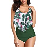 FarJing Bikini Swimsuit for Women High Waisted Tummy Control Two Piece Tankini Ruffled Top with Swim Bottom Bathing…