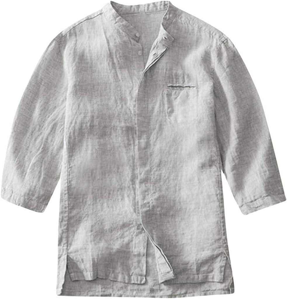 MOTOCO Camisa de algodón y Lino con Textura de Coco con ...