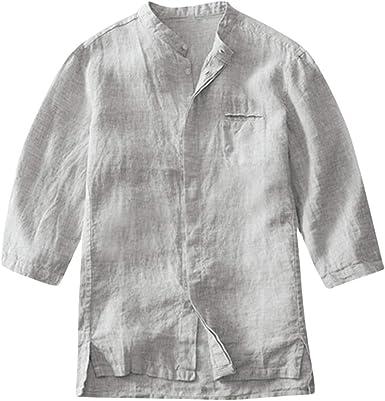 SoonerQuicker Camisa de Hombre T Shirt Camisas Casuales con Botones de Fasion para Hombre Camisa musculosa Delgada Tops de Manga Media Blusa Camiseta Blusa tee: Amazon.es: Ropa y accesorios