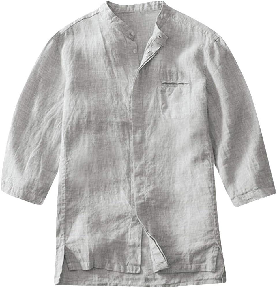 MOTOCO Camisa de algodón y Lino con Textura de Coco con Textura ...