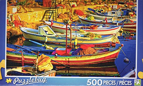Colorful Fishing Boats in Harbor - Puzzlebug 500 Piece Jigsaw Puzzle