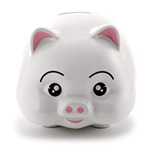 """Cute and Adorable Stoneware Glasslike Finish Piggy Coin Bank 6.5"""" x 4.5"""" x 4"""" for Babies, Girls & Boys"""