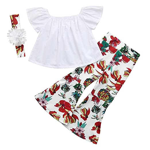 14e54301b047 Vincent&July Girls Clothes 3Pcs Toddler Baby Girls White Off Shoulder Tops+ Floral Pineapple Flare Pants
