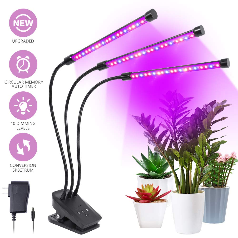 Grow Light, Plant Lights for Indoor Plants 30W 60 LED Plant Grow Lamp with Timer 3/6/12H Auto ON & Off, 10 Dimmable Levels, 3-Head 360 Degree Adjustable Gooseneck by NOVEMBER SPRING