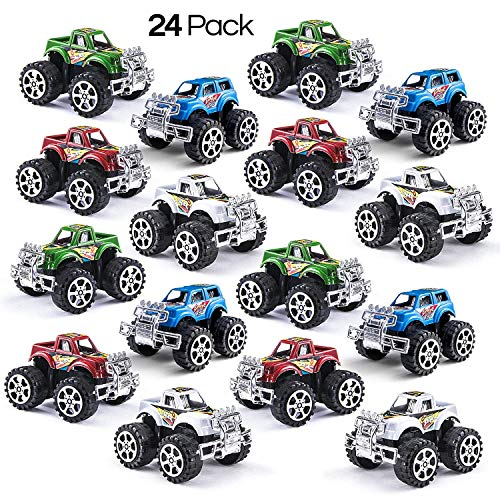 Prextex Pack of 24 Monster Pullback Trucks Stocking Stuffers Party Favors -