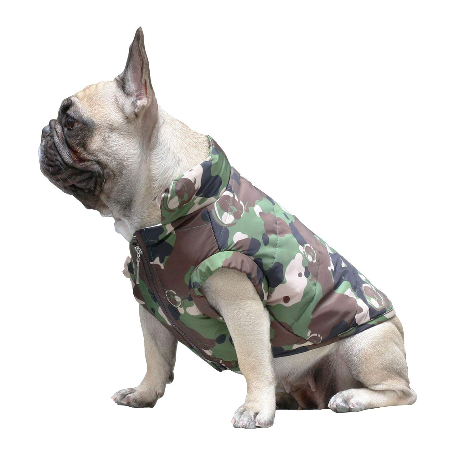 Camo M Camo M iChoue Pet Dog Winter Warm Vest Coat Jacket Clothing French Bulldog Pug Boston Terrier Shiba Inu Soft Cotton Filling Windproof Waterproof Fabric Tank Top Camouflage M