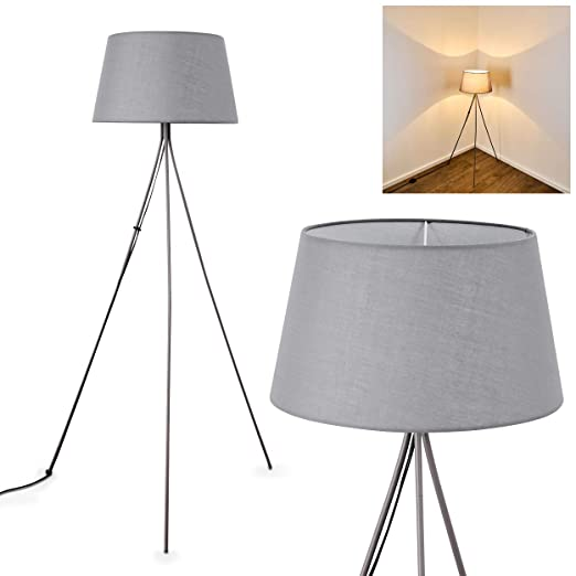 Lámpara de pie borssele de metal/plástico gris - Lámpara de suelo ...
