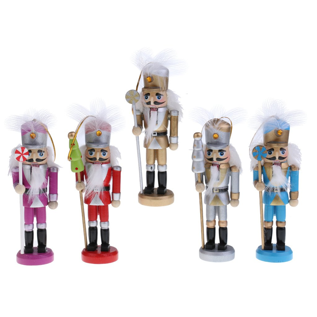 MonkeyJack 5Pcs Traditional Nutcrackers Puppets in Classical Suit 13cm Tall Handmade Wooden Nutcrackers Christmas Tree Decorations Children Kids Xmas Gifts