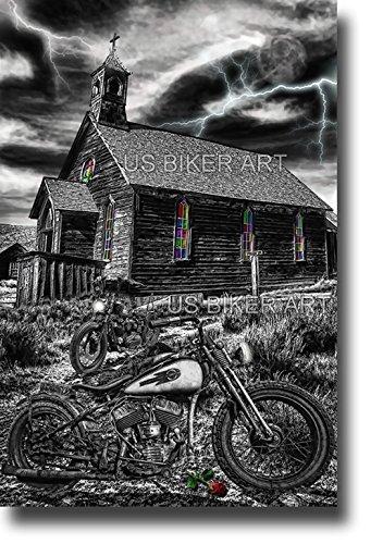 HARLEY DAVIDSON VINTAGE FLATHEAD MOTORCYCLE OLD WEST CHURCH ART ()
