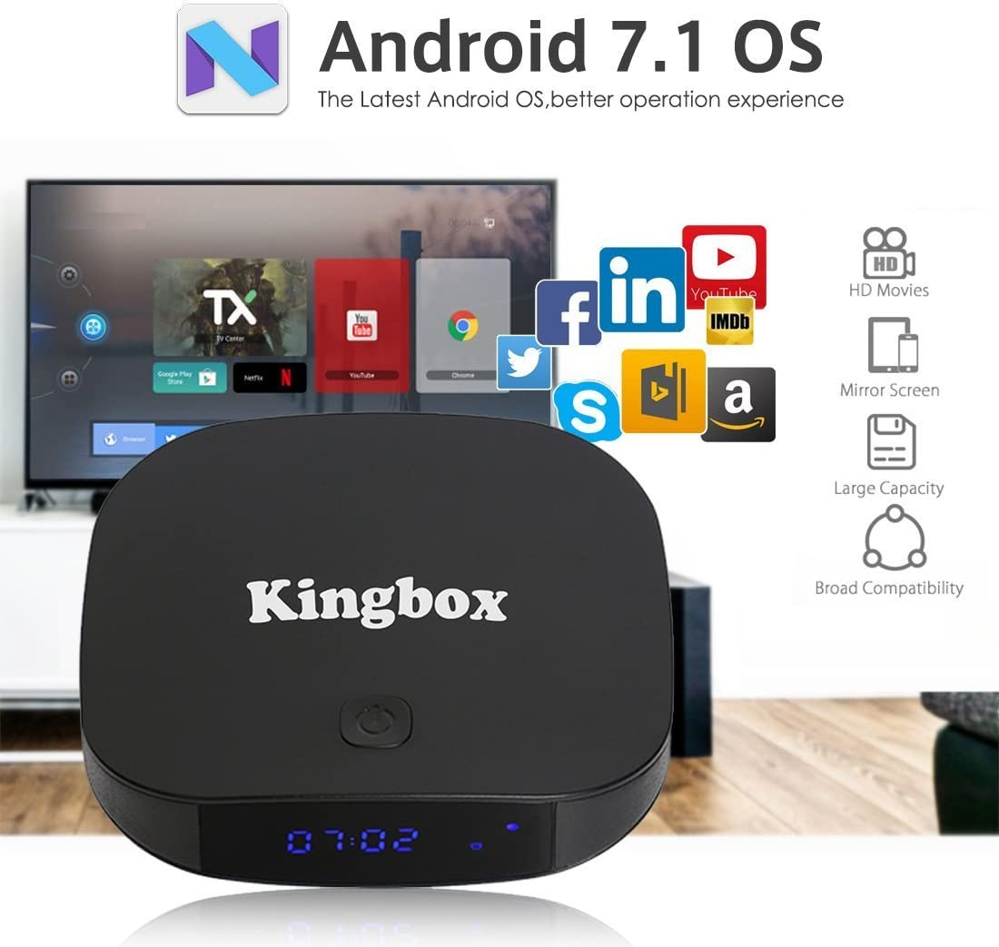 Kingbox Android TV Box Bluetooth 4.0 / Android 7.1 / 3D / 4K Full HD / 2.4 GHz WiFi/H.265 Smart Scatola TV (2+16): Amazon.es: Electrónica