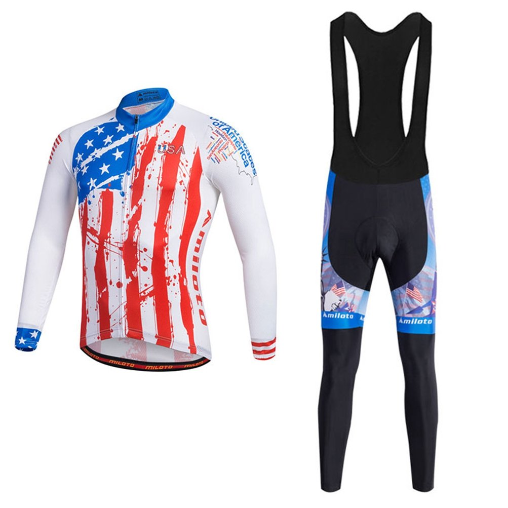 Uriah Men 's Cycling Jersey Bibパンツブラックセット長袖反射 B074L1PH91 Chest 36.2''=Tag S|USA Style USA Style Chest 36.2''=Tag S