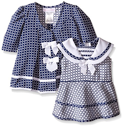 Bonnie Baby Baby Check Jacquard Sailor Dress and Coat Set, Navy, 3-6 Months (Coat Jacquard Dress)