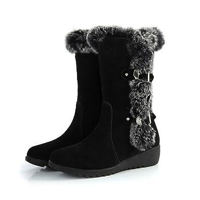 Autumn Winter Women Mid Calf Slip-Resistant Waterproof Snow Boots Warm Rabbit Fur Wedge Boots
