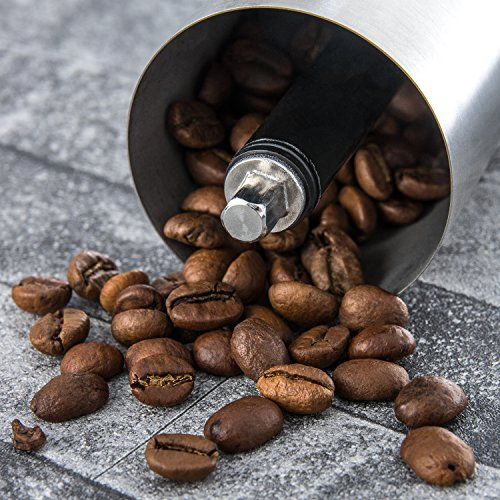 Manual Coffee Grinder | Henry Charles Finest Collection | Brushed Stainless Steel with adjustable ceramic grinder | Compact size perfect for the home, office or traveling