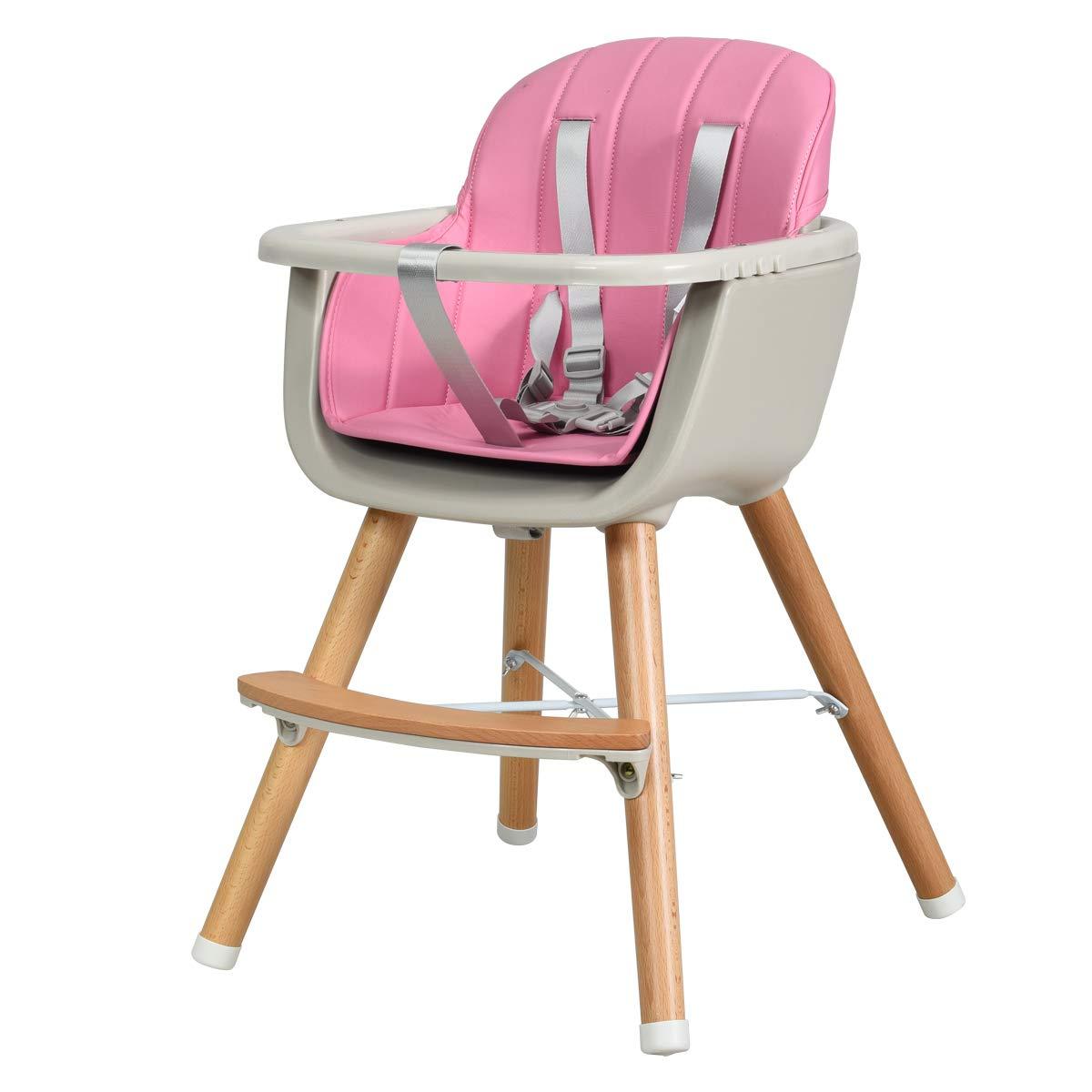 Rosa Kinderhochstuhl mit 5-Punkt Sicherheitsgurt GOPLUS Babyhochstuhl Holz Treppenhochstuhl Baby-F/ütterungsstuh Kombihochstuhl Holzhochstuhl Kinder