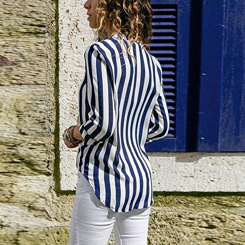 Manche Casual Blouse Col Weant Longue et Femme Blouse Grande Ray Chemisiers V Tee Femme Imprim Bleu Chemise Blouses Shirt Taille Femme Tops Shirt Sg5qPxf