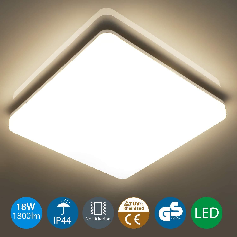 Oeegoo Lampara de Techo 18W, IP44 resistente al agua,1800LM LED Plafon de Techo para Baño Cocina Dormitorio Balcón Corredor Oficina Comedor Blanco ...