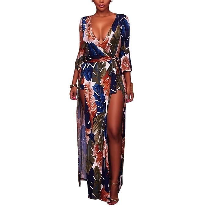 e56d3e86daf61 Luluka Women's Sexy V Neck Long Sleeve Print Split Maxi Skirt Overlay Romper  Playsuit US Medium