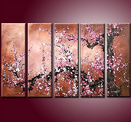 "Handmade Modern Abstract Cherry Blossom Tree Wall Art Picture 5pcs Oil Paintings on Canvas for Living Room Home Decor Framed, Pink (60""x36"")"
