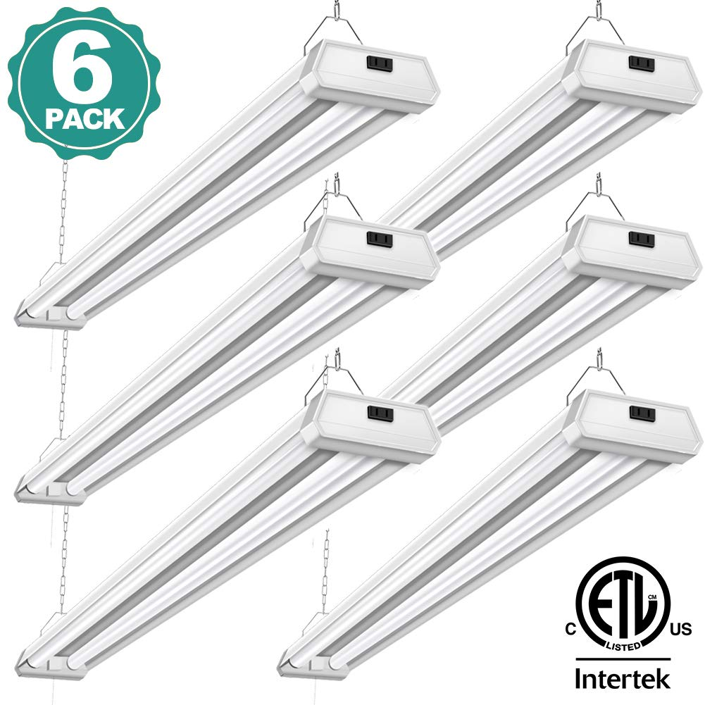 6 Pack 42W Linkable LED Utility Shop Light Addlon 4ft 48 Inch 5000K Led Garage Ceiling Lighting, 300W Equivalent Double Integrated Florescent Light Fixture with Pull Chain Mounting