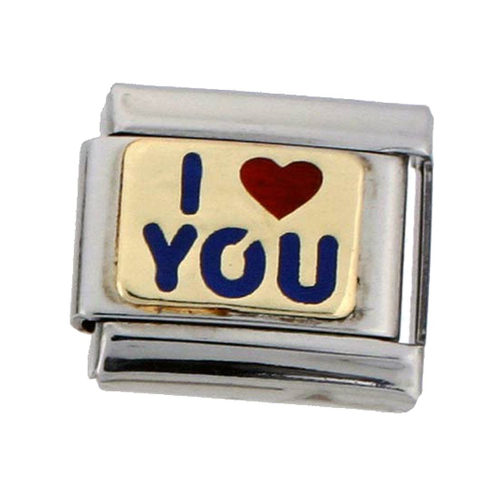 Stainless Steel 18k Gold I LOVE YOU Charm for Italian Charm Bracelets Sabrina Silver
