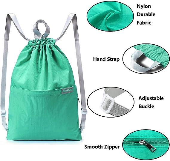 AOHAN Drawstring Bags Waterproof Backpack Foldable Travel Bag Fashion Gym Sack Casual Handbag for Men Women Sports Fitness Working School Backpack