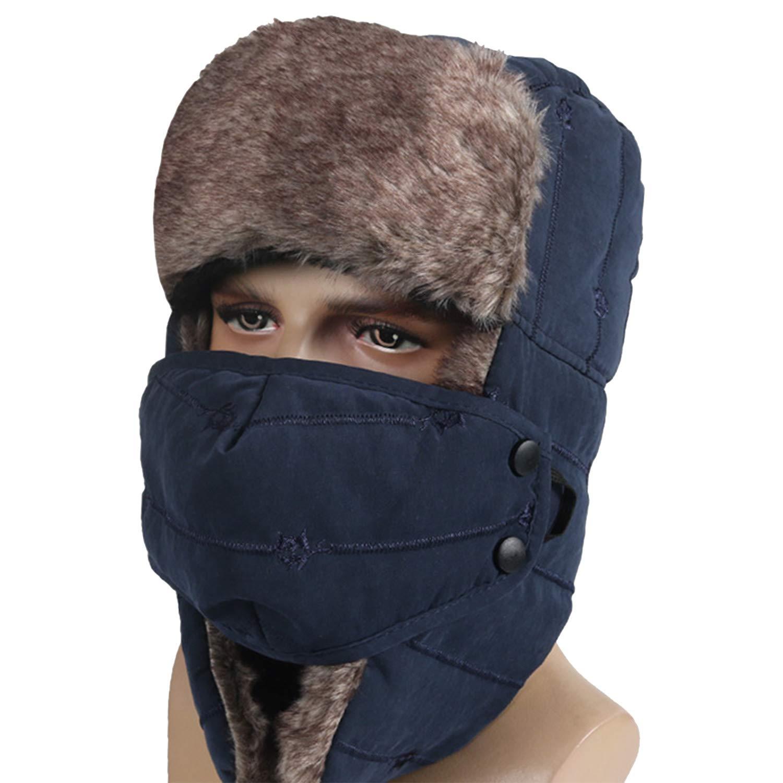 Winter Trapper Hat for Men Women Warm Ushanka Aviator Russian Windproof Hat with Mask,Blue