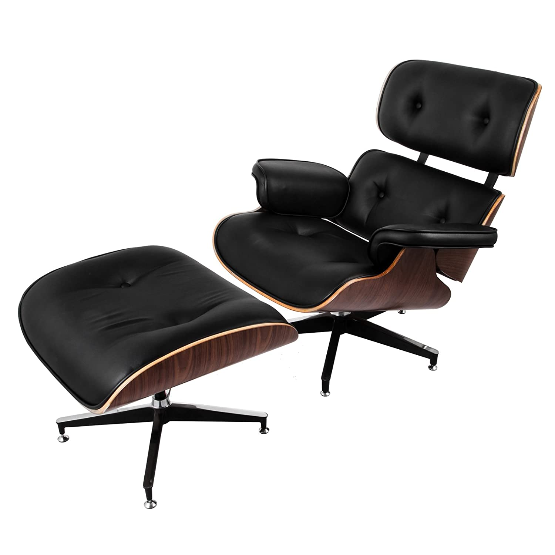 ultraselect mediados de siglo sillón y Ottoman juego 7 capas de nogal chapa de laminado de estilo Eames Lounge silla Otomano High-elastic Poliuretano espuma ...