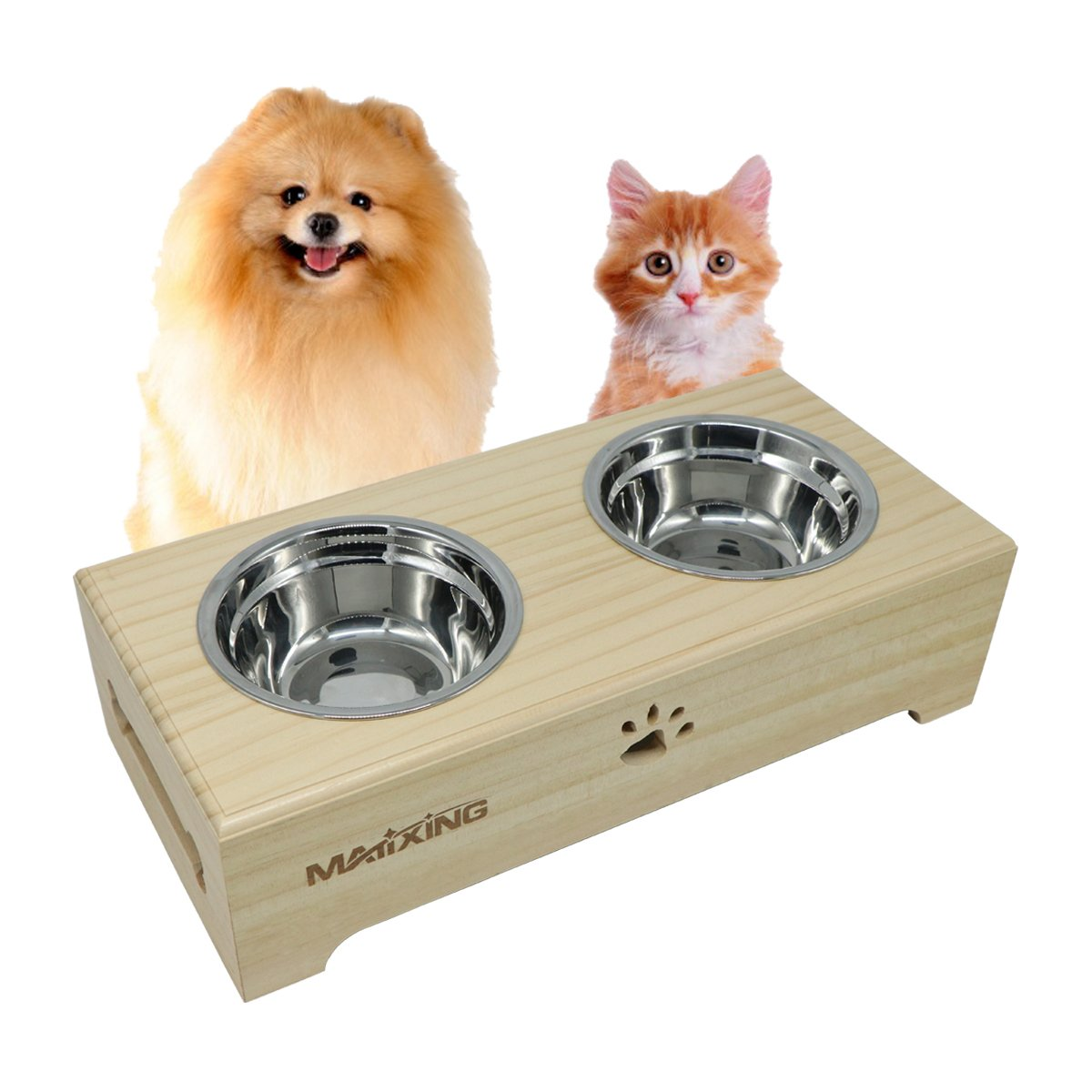 Elevated Dog and Cat Wood Pet Feeder, Double Bowl Raised Stand Comes with Two Stainless Steel Bowls