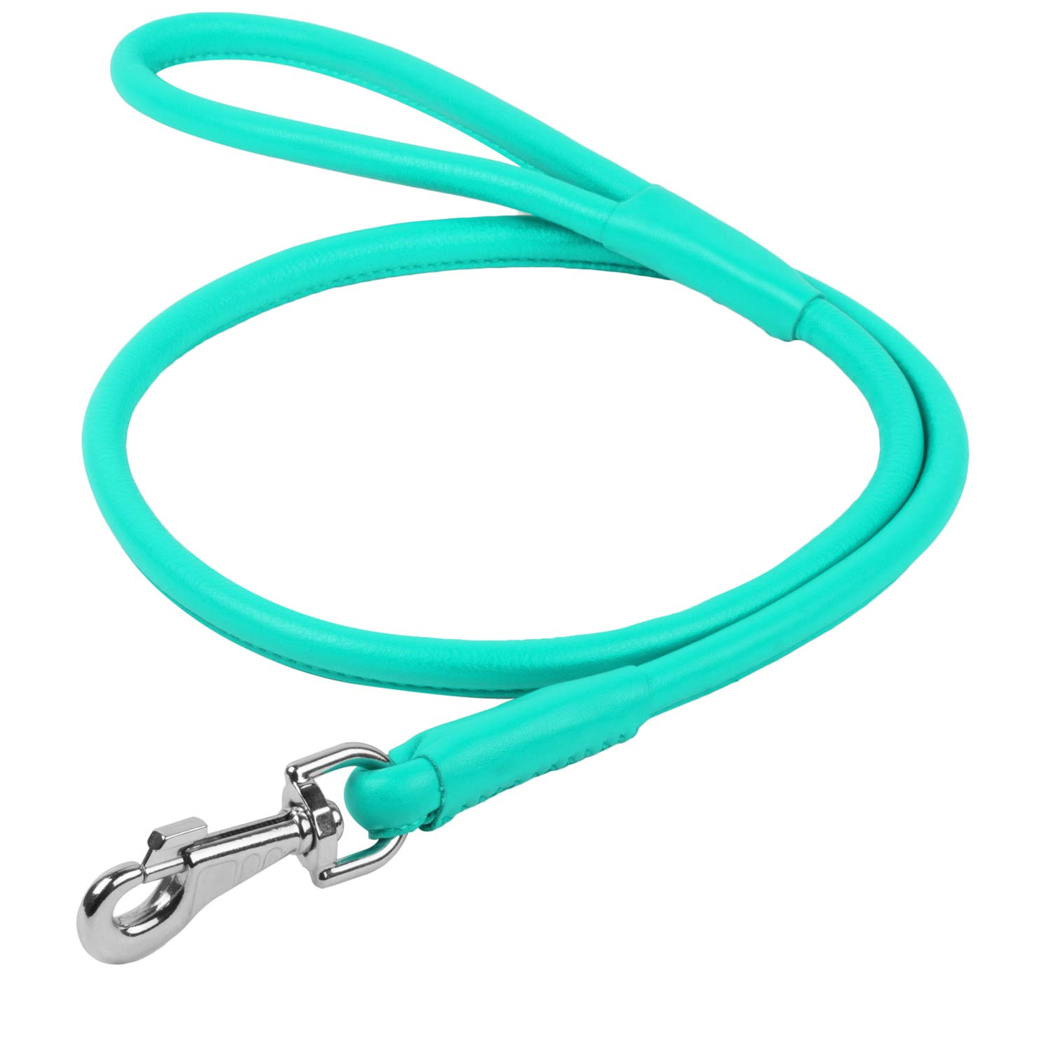 Rolled Leather Dog Leash 4 ft - Soft Dog Lead for Small Medium Large Dogs Puppy - Red Blue Pink Purple Green Black Pet Leashes for Outdoor Walking Running Training Plus (Mint Green, 4 Ft x 3/8'' Wide) by WAUDOG (Image #1)