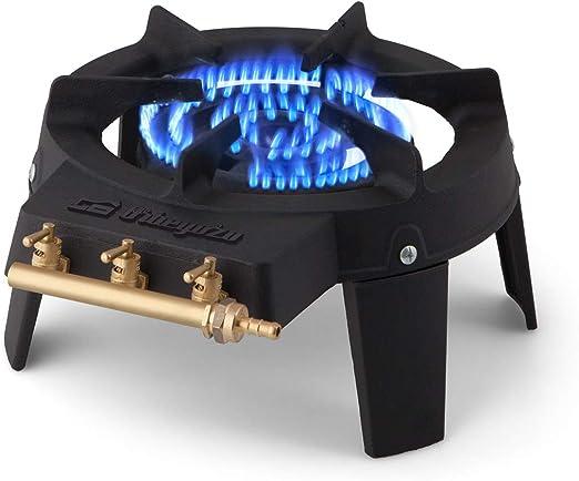 Orbegozo FO 6500 - Hornillo gas de hierro fundido, superficie resistente a altas temperaturas, tres zonas independientes de encendido, 18 cm de ...