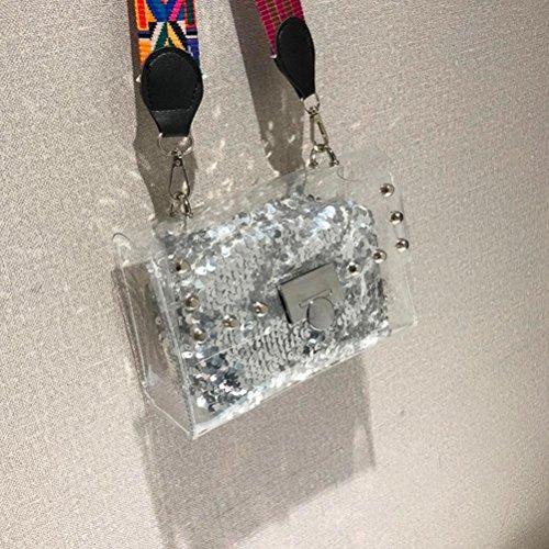Crossbody di Telefono Da clutch Trasparente Ragazza a Donne Moneta del Pacchetto Portafoglio della Cristallo Viaggio paillettes Argento Borsetta Borse tracolla Moda Tracolla Sacchetto PZ8Rqxqw