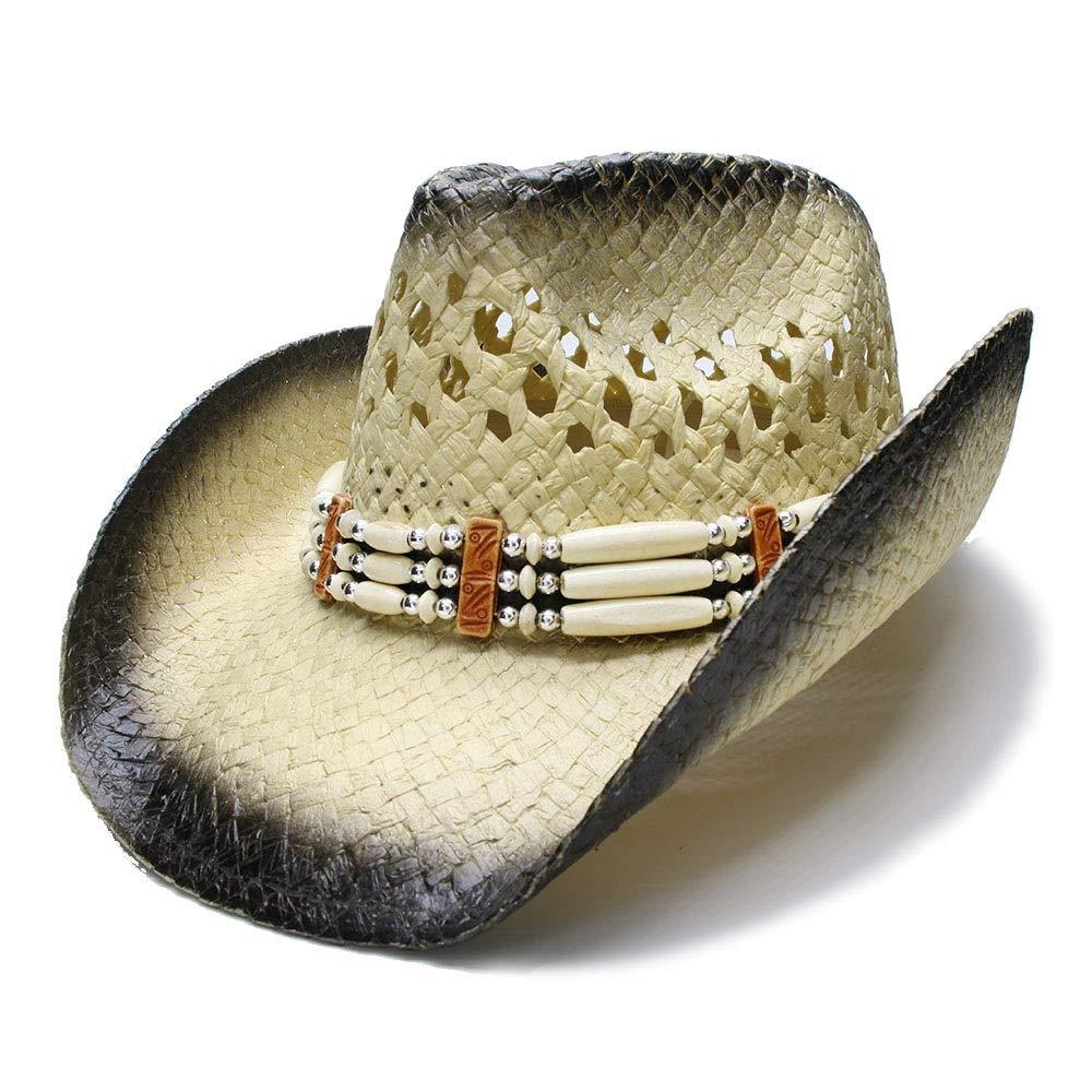 For women's hats Fashion Women's Men's Summer Sun Hat Husk Beach Wide Brim Cowboy Westerly Cowgirl Sun Hat Sombrero Cap (Color : 4, Size : 56-58CM)