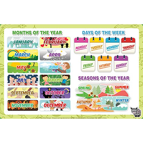 Fat Zebra Designs Educational Placemats - Set of 5 Learning Placemats: Letters, Numbers, Shapes, Addition & Month/Days/Seasons - Easy Clean, Durable & Reusable Kids Table Mats - 12x17 Inches by Fat Zebra Designs (Image #2)