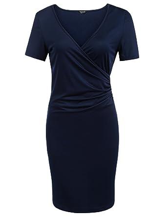 0f41ff093b0979 Meaneor Damen Elegant Sommerkleider Wickelkleid Bleistiftkleid Businesskleid  Jerseykleid mit V-Ausschnitt Sexy Bodycon Figurbetontes Kleid