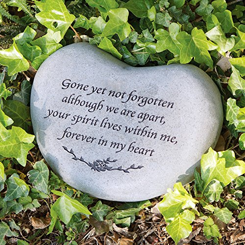 Garden Age Supply Stepping Heart Stone - Gone Yet not Forgotten Engraved Stone, Natural Solid River Stone, Memorial Stepping Stone