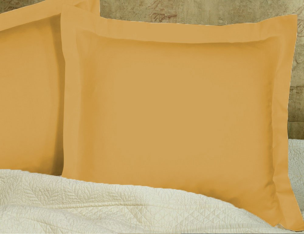 """Bedding Attire 600 Thread Count Gold Solid Pillow Shams Set of 2 Piece 100% Egyptian Cotton 26"""" x 26"""" Euro Size"""