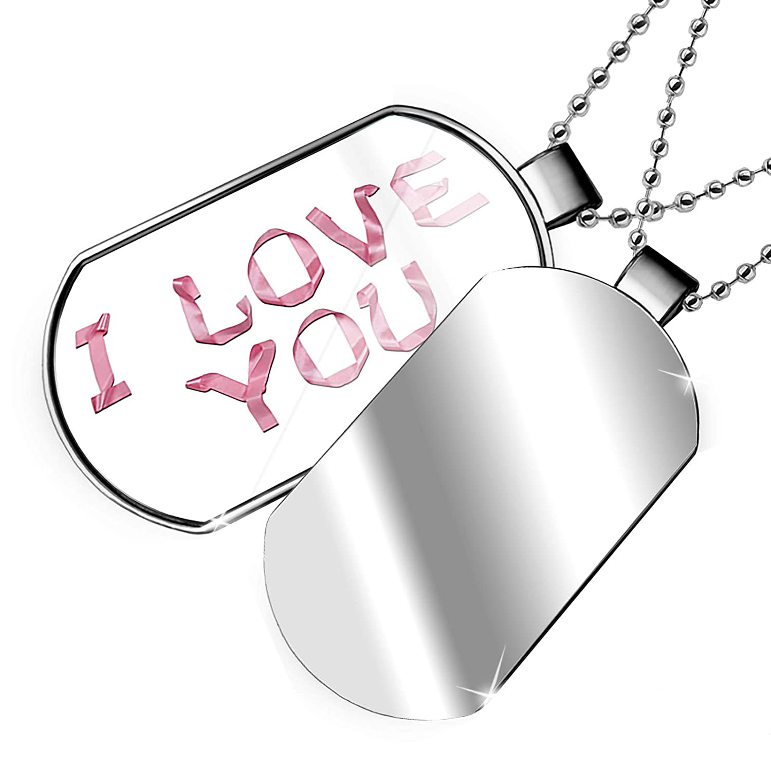 NEONBLOND Personalized Name Engraved I Love You Pink Ribbon Dogtag Necklace