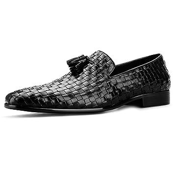 MERRYHE Tejido De Cuero Genuino De Los Hombres Deslizamiento En El Barco De Conducción Mocasines Zapatos Mocasines De Negocios Vestido Formal Monje: ...