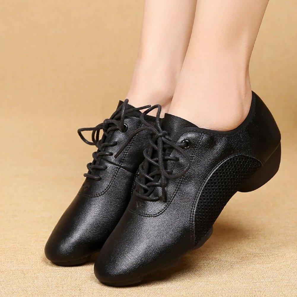 Black Color : B, Size : 35 XUEXUE Womens Modern Shoes Latin Shoes Leather Lace-up Breathable Dance Shoes Comfort Square Dance Shoes Sneakers Rounded Toe Red